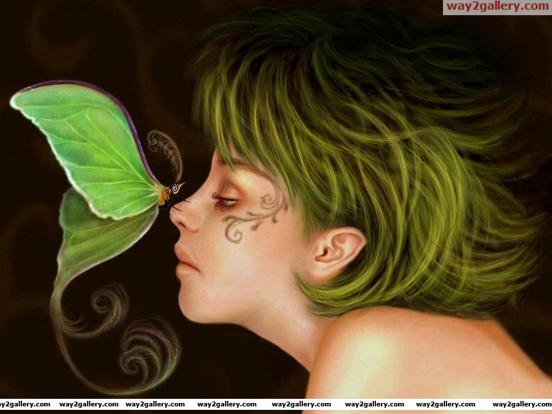 3d girls butterfly green hair