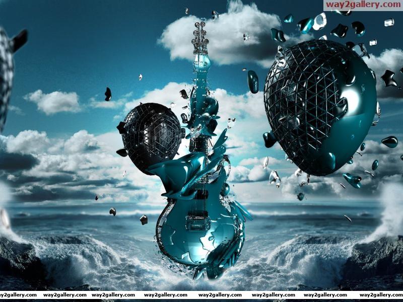 3d guitar sea space creativity