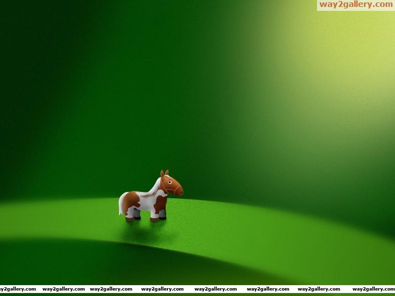 Green leaf pony horse micro