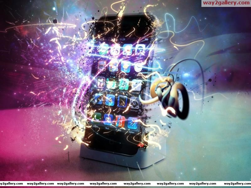 I phone 4g with shining multi color background 3d gaming hd