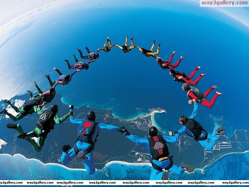 Sky dive view