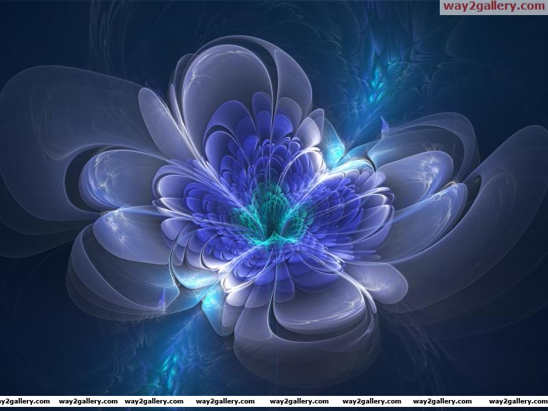 Wallpaper 3d drawing flower blue purple blue green petals glow