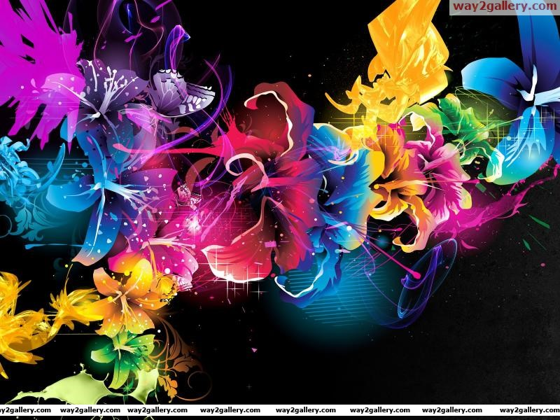 Wallpaper abstract flowers colors patterns lines dots light style