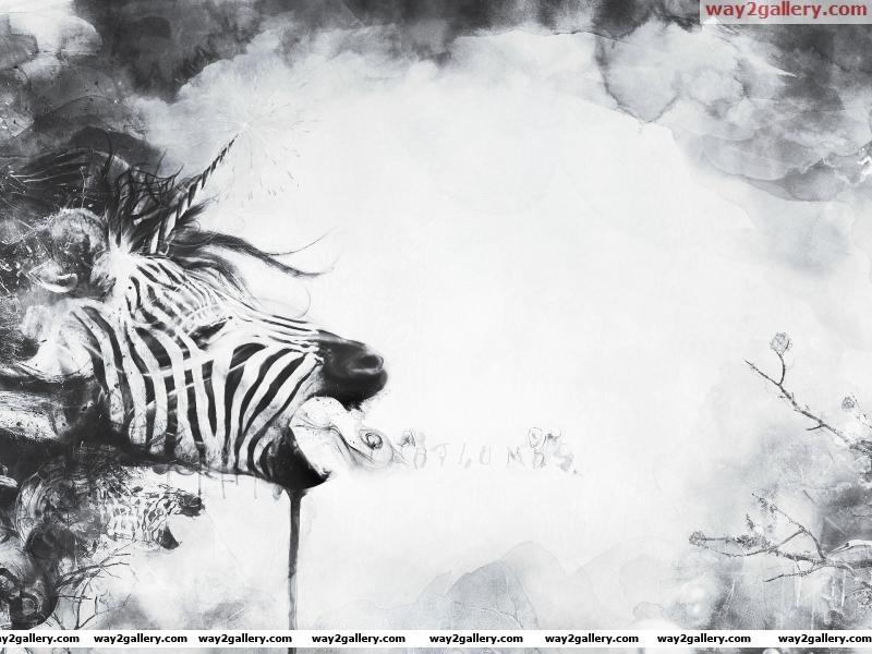 Wallpaper abstraction a zebra a unicorn a plant