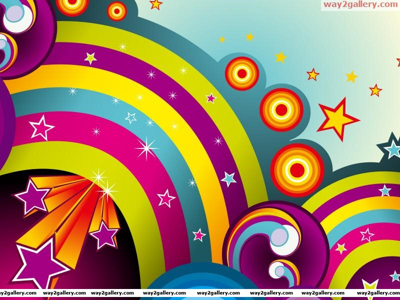 Wallpaper abstraction line background circles stars rainbows