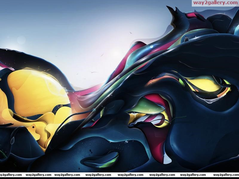 Wallpaper colors curves glow man