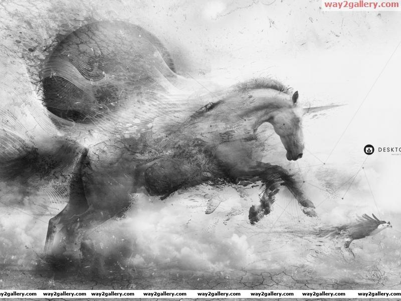 Wallpaper desktopography ground cracked lines unicorn eagle flying