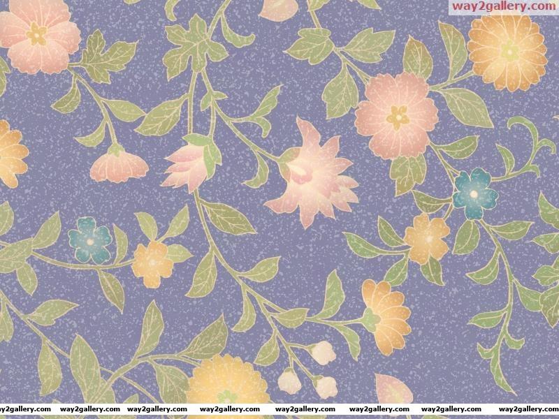 Wallpaper drawing flowers leaves tendrils spot