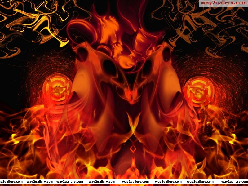 Abstract fire with loudspeaker