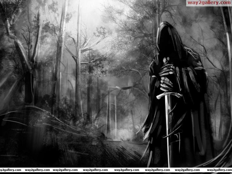 Black dress sword devil abstract