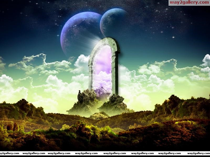 Fantasy portal abstract autumn clouds fantasy gate planets purple