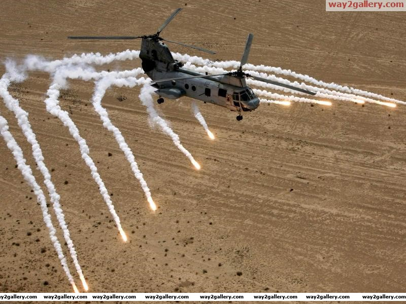 Helicopters desert rockets aircraft
