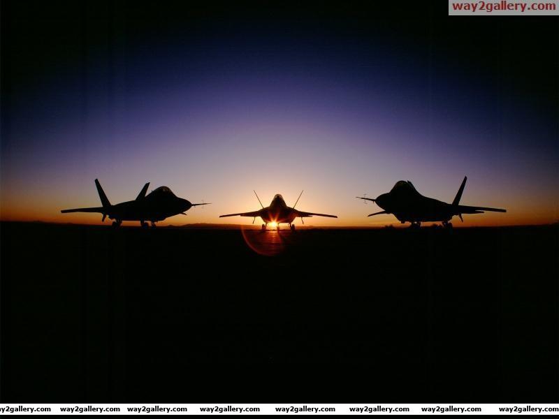 F22 raptor fighter planes sunset usairforce aircraft