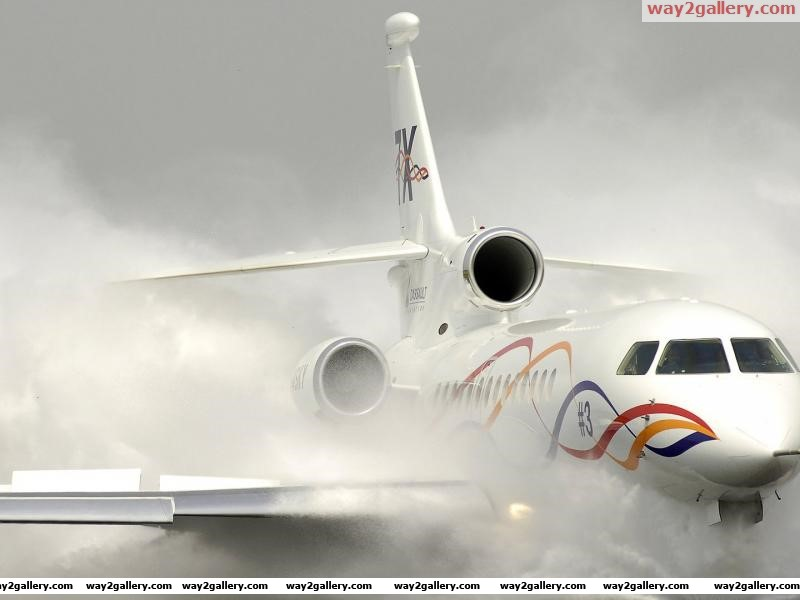 Large airplane landing