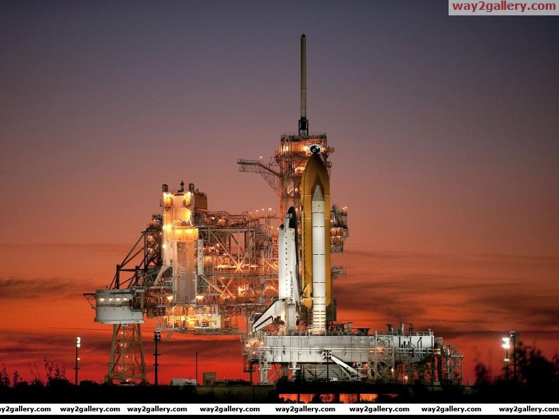Sunset space shuttle atlantis sts 129 launch pad 39a florida