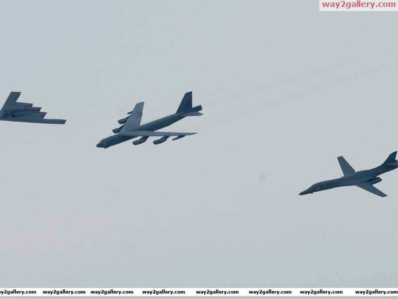 United states air force bombers flying in formation b 2 spirit b 52 stratofortress b 1b lancer shreveport louisiana