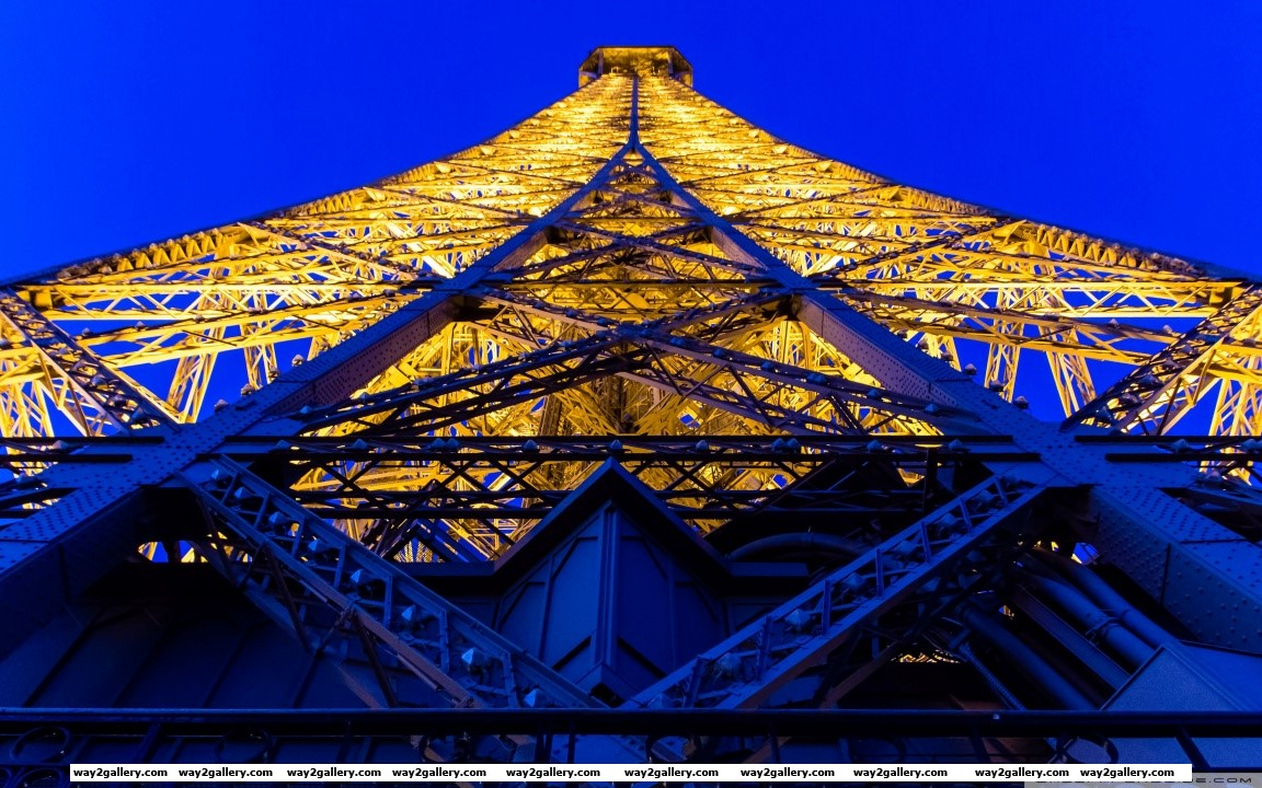 Eiffel tower blue and yellow hd wide wallpaper