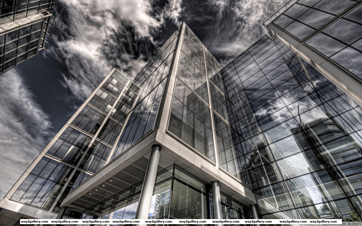 Glass building reflection hd wide wallpaper