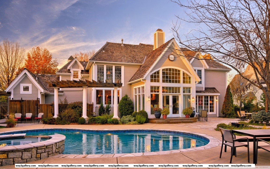 House with pool in the yard hd wide wallpaper