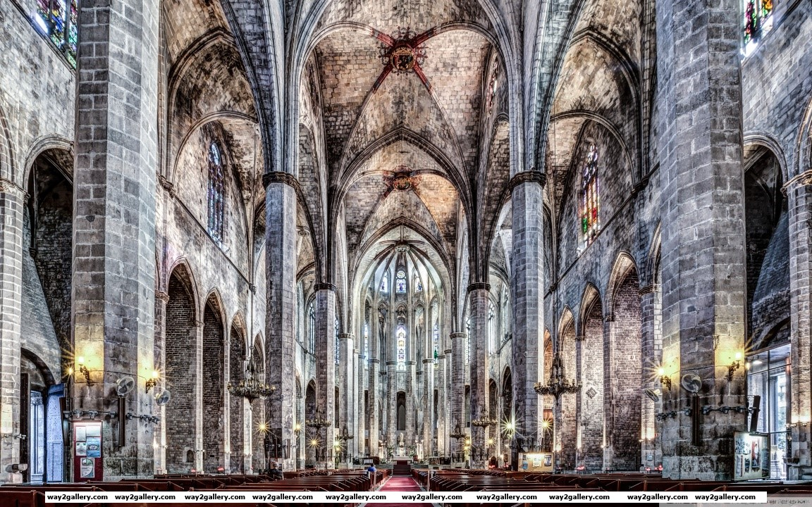 Santa maria del mar barcelona catalonia hd wide wallpaper