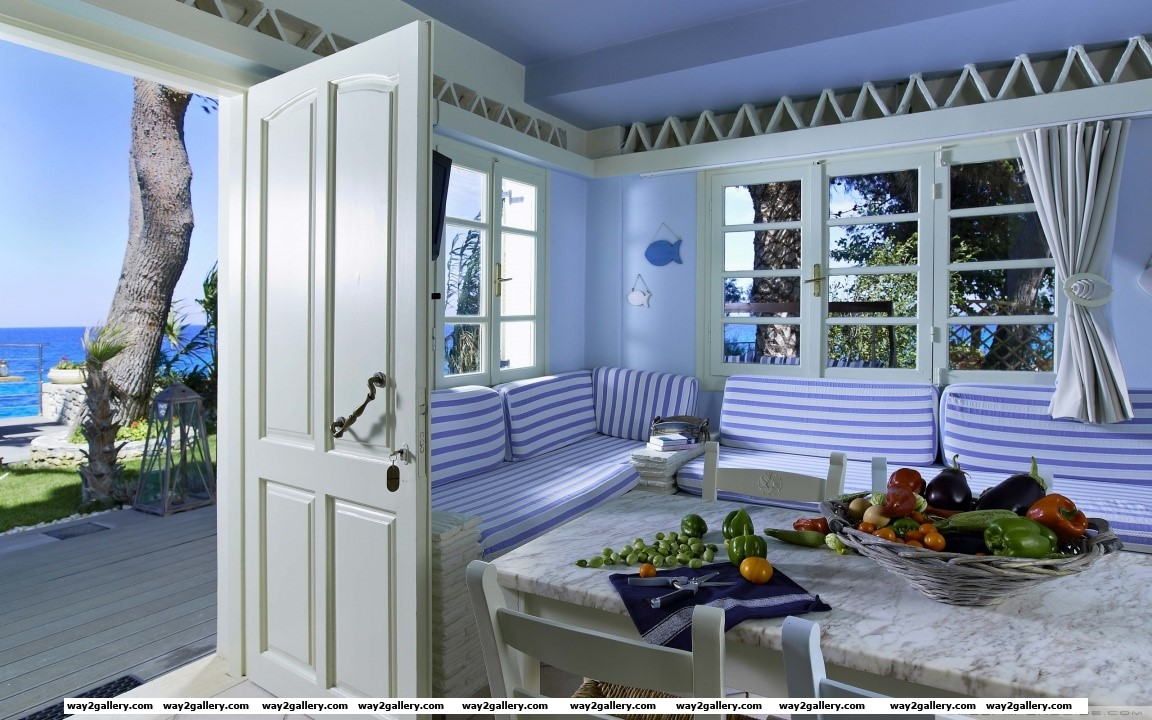 Seaside house interior design hd wide wallpaper