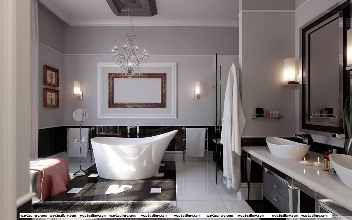Stylish design bathroom hd wide wallpaper