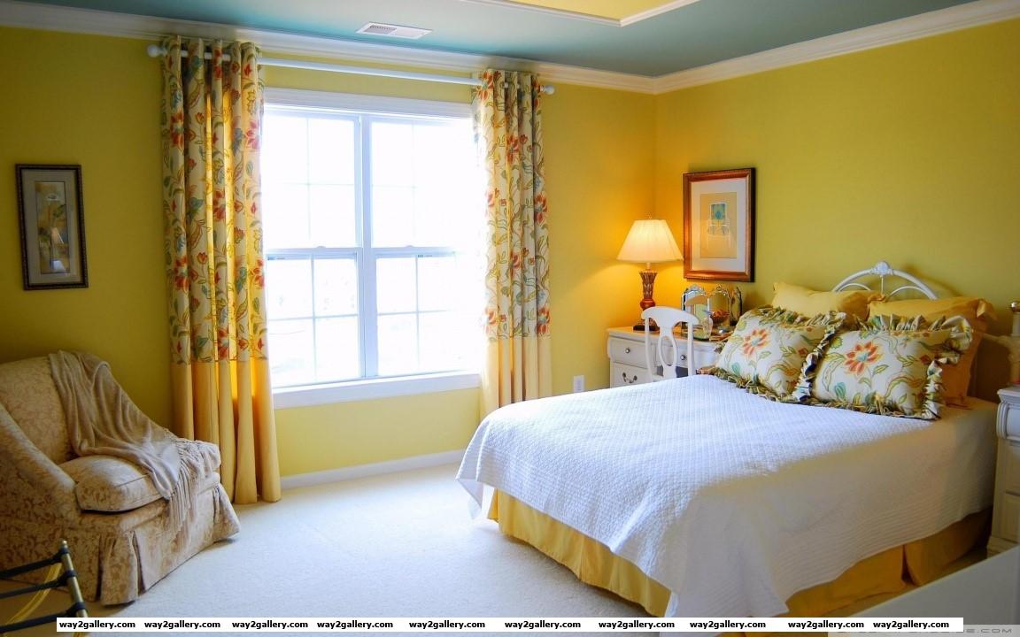 Yellow bedroom design hd wide wallpaper