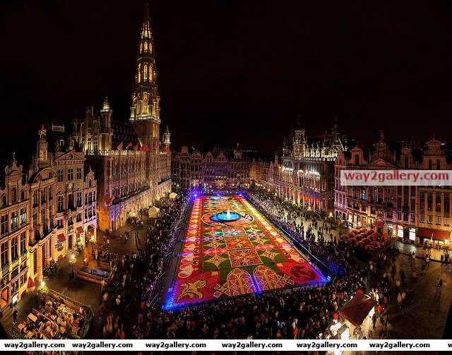 Biggest carpet of flowers in the world, brussels, belgium
