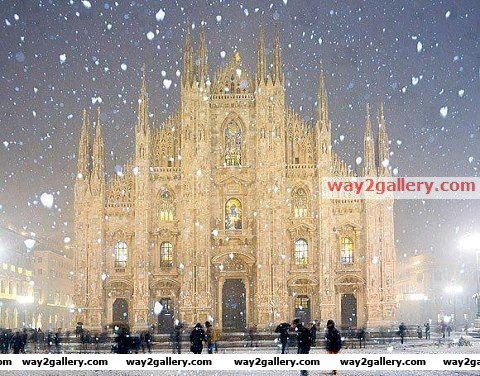 Duomo cathedral in the snowfall, milan, italy
