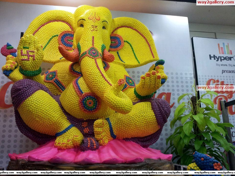 Lord ganesha made up of cadbury gems