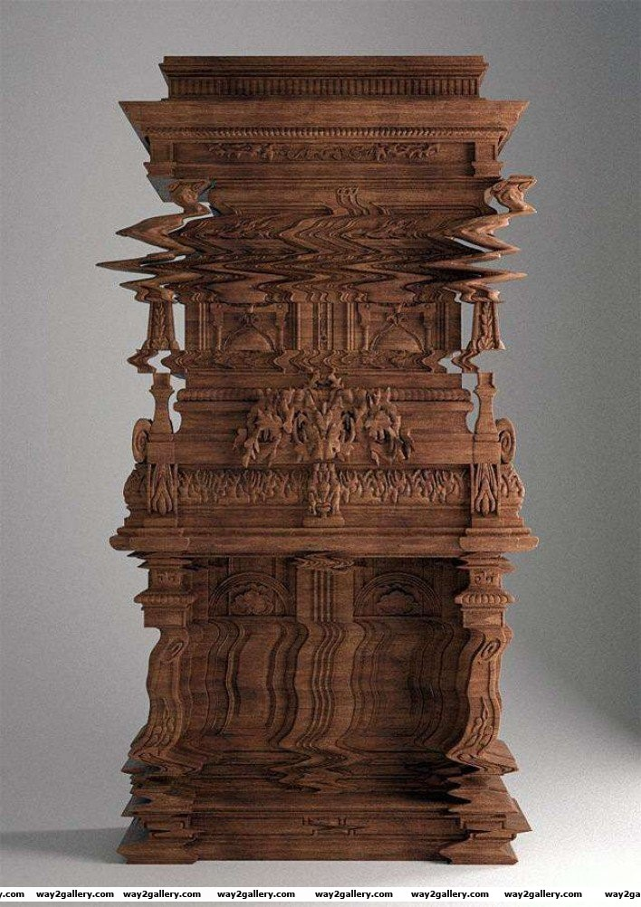 22 a cabinet carved to look like a digital glitch