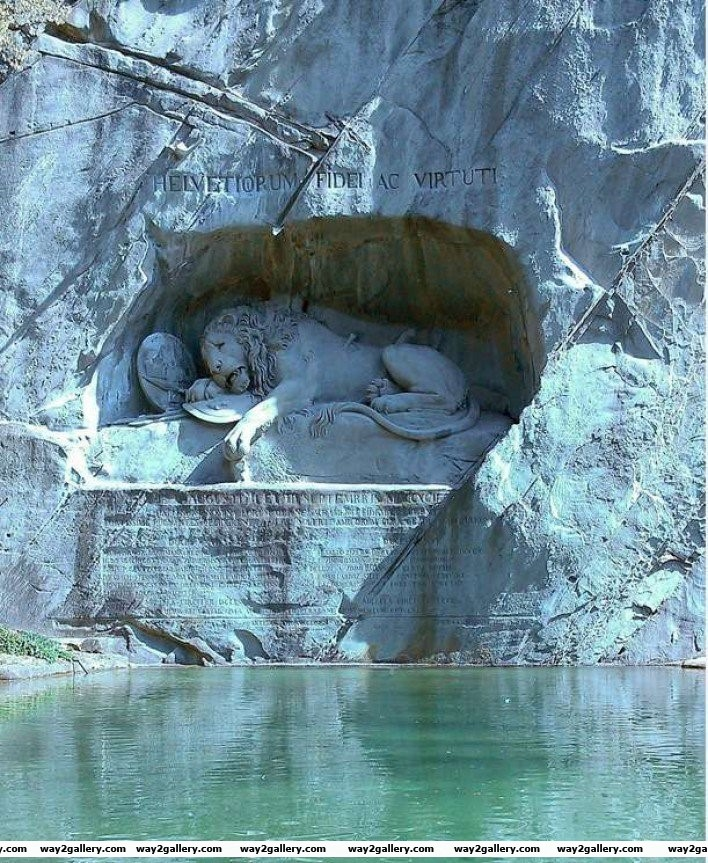 27 wounded lion sculpture in honor of swiss guards who died in the french revolution luzern switzerland