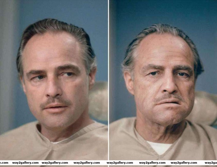 36 marlon brando before and after his makeup was done for his role in the godfather
