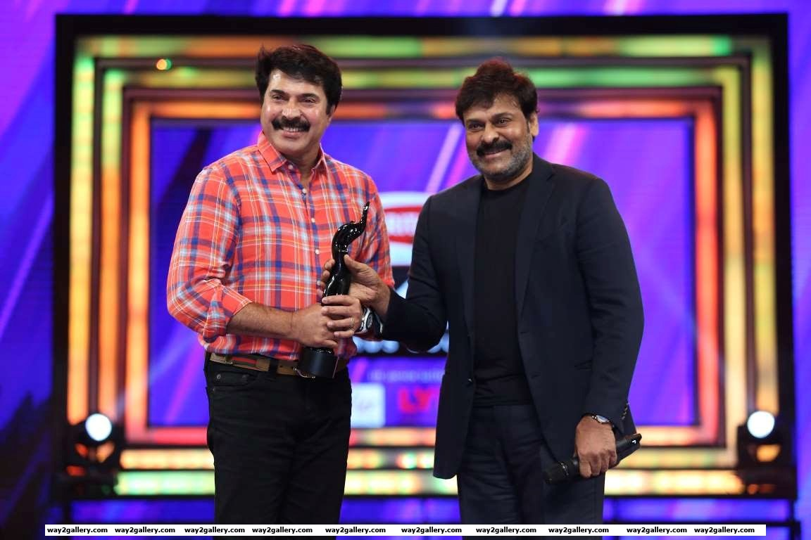Best actor  malayalam winner mammootty and chiranjeevi pose for photographers during rd filmfare awards south