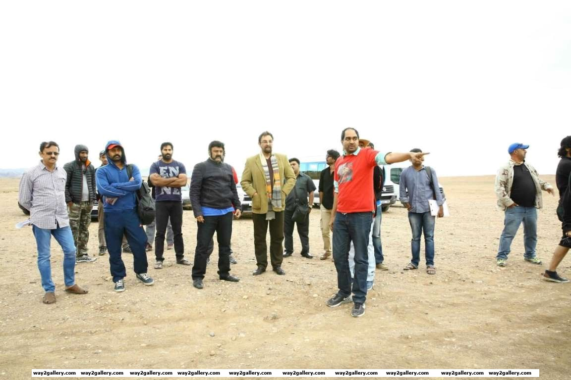 Nandamuri Balakrishna and Kabir Bedi snapped on the sets of Telugu film Gautamiputra Satakarni in Morocco