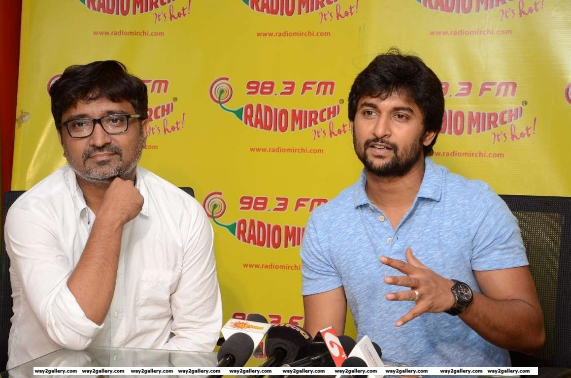 Director Indraganti Mohan Krishna and Nani visited the Radio Mirchi office to launch the latest song of their upcoming film Gentleman