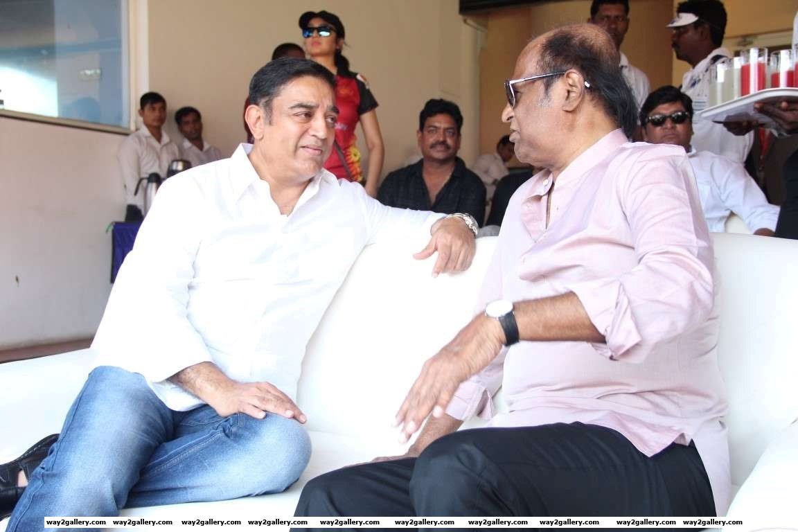 Kamal Haasan in conversation with Rajinikanth during the Natchathira cricket tournament