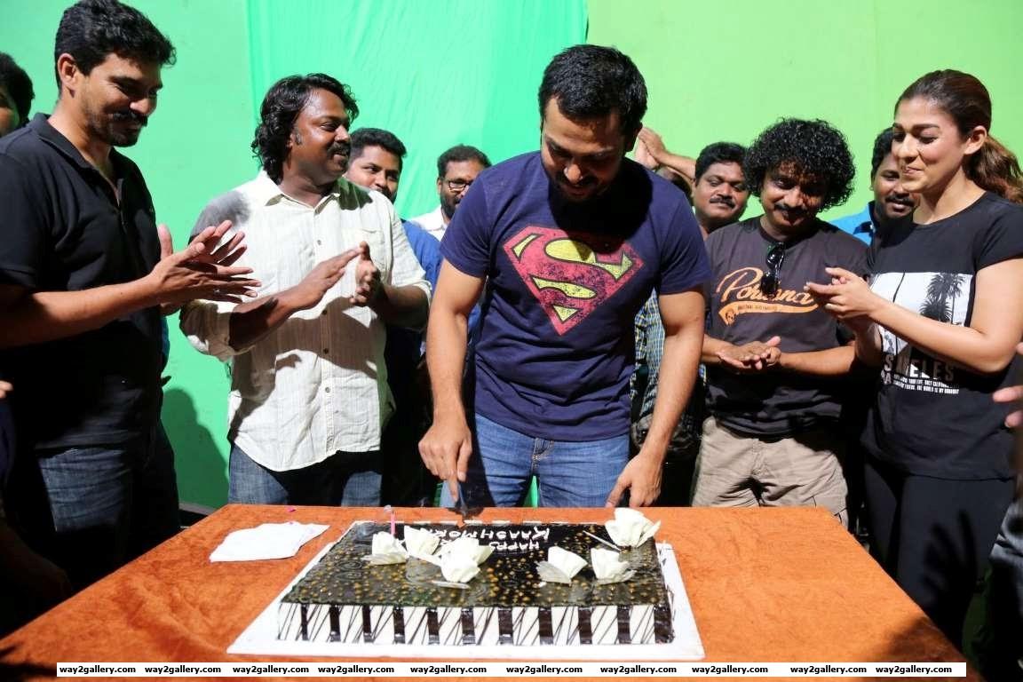 Karthi celebrated his th birthday on the set of Tamil film Kashmora