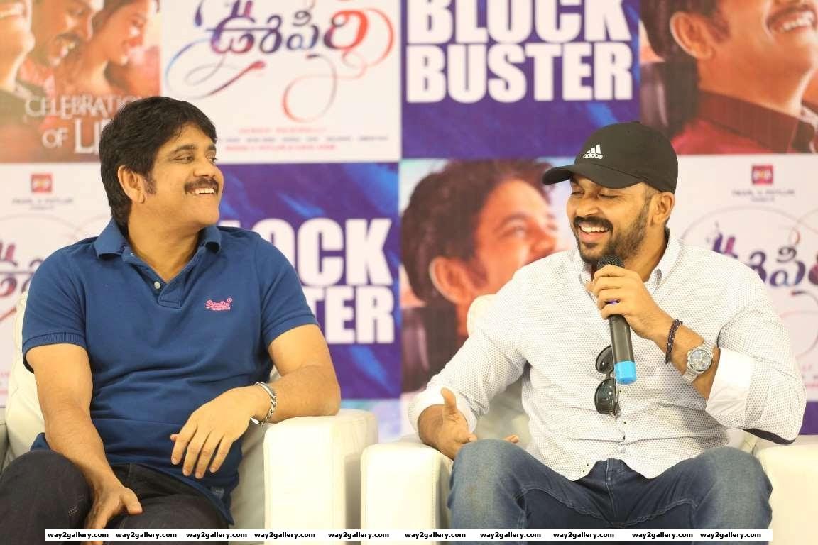 Nagarjuna and Karthi are all smiles during the success meet of Telugu film Oopiri