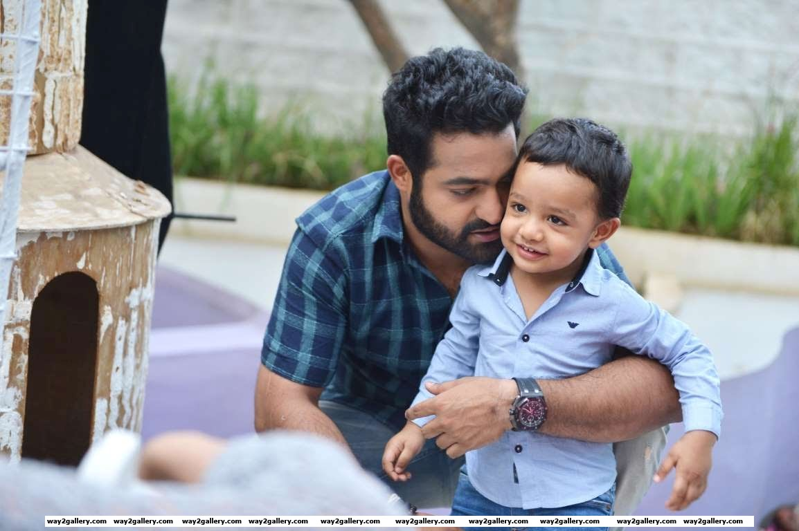 Our shutterbug caught Jr NTR with his son Abhay Ram on the sets of Telugu film Janatha Garage