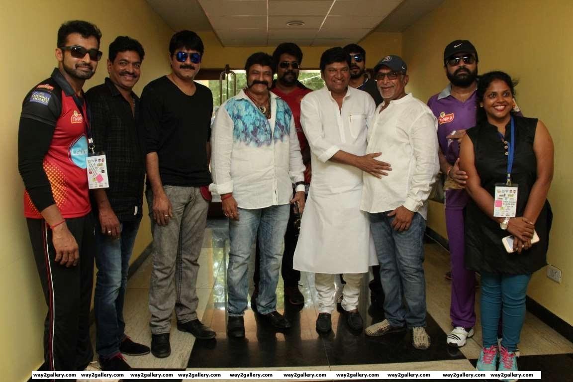 Our shutterbug caught Telugu stars Sivaji Raja Meka Srikanth Nandamuri Balakrishna and Rajendra Prasad at the celebrity cricket tournament