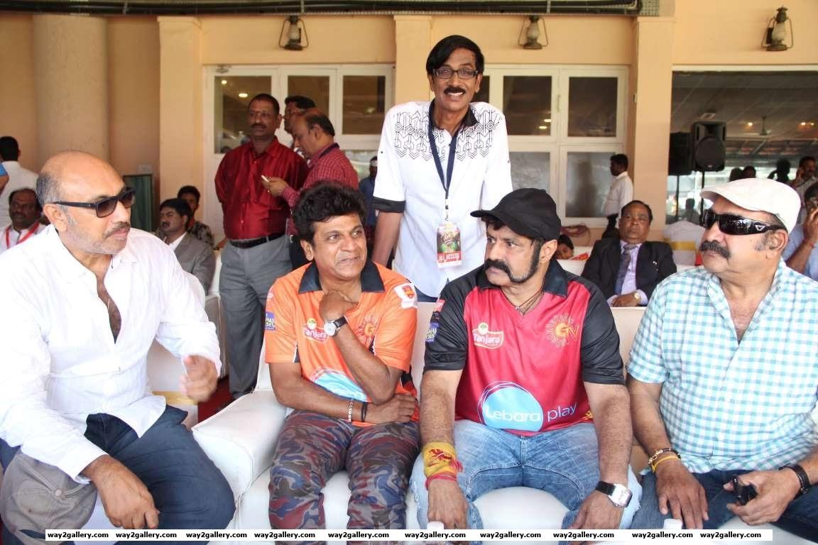 Sathyaraj Shivarajkumar Manobala Nandamuri Balakrishna and Vijayakumar were among the celebrities at the Natchathira cricket tournament