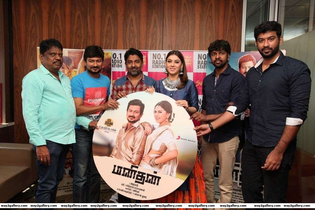 The cast and crew of Manithan launched the music of the Udhayanidhi Stalin and Hansika Motwani starrer
