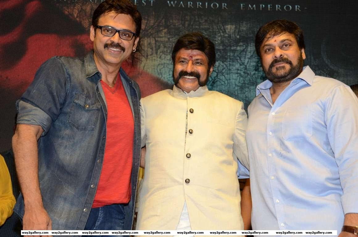 Venkatesh and Chiranjeevi graced the muhurtham of Nandamuri Balakrishnas th Telugu film Gautamiputra Satakarni