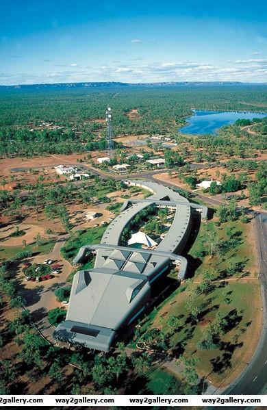Amazing aerial picture of a croc hotel in jibaru australia