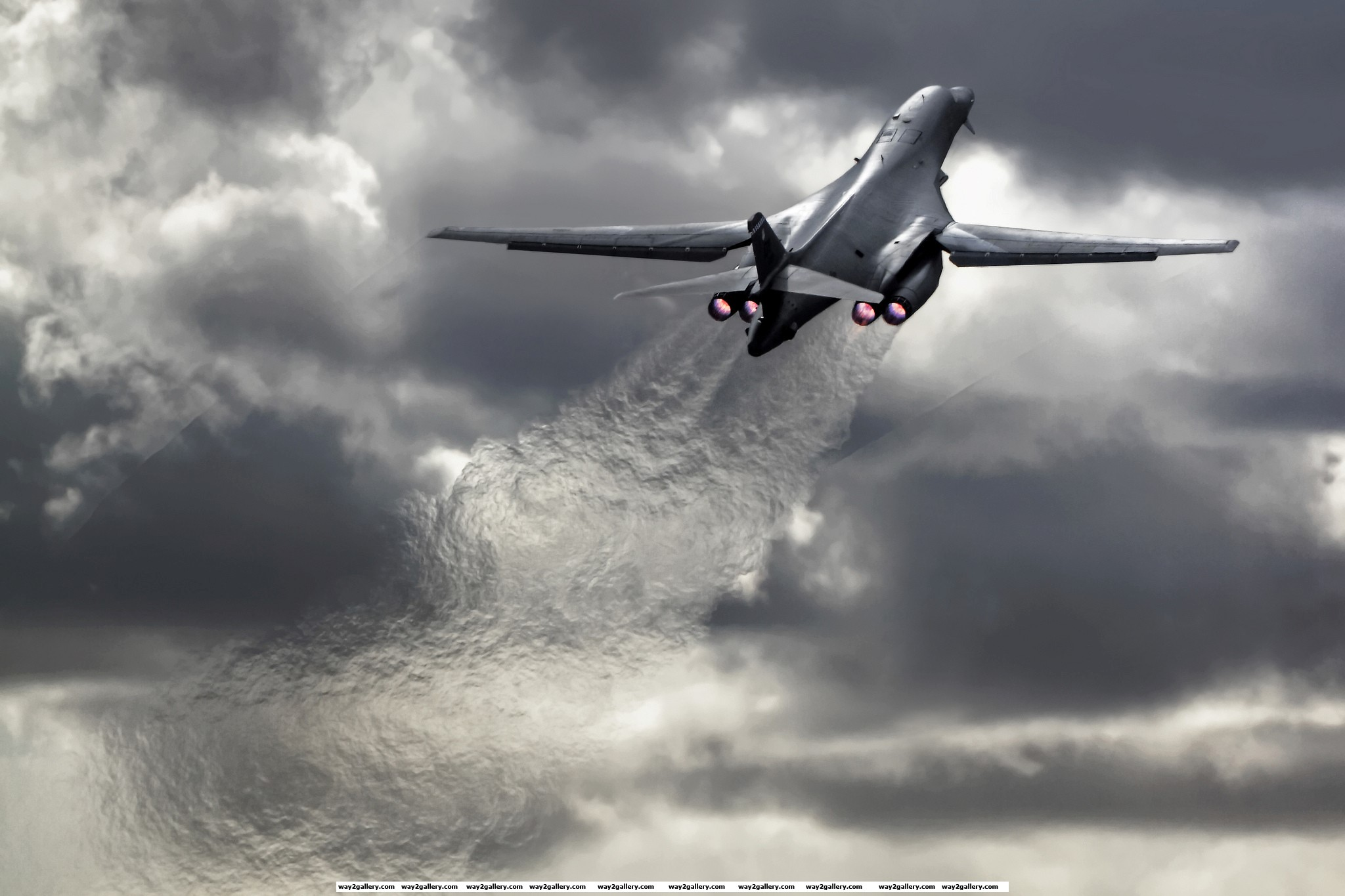 Awesome image of a b1 b lancer jet taking off from a us airbase