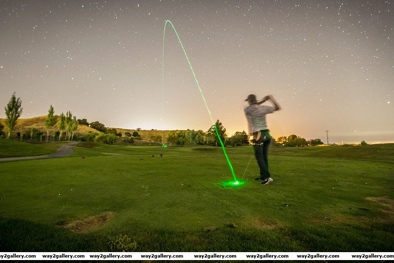 Awesome long exposure photo of an illuminated golf ball shot