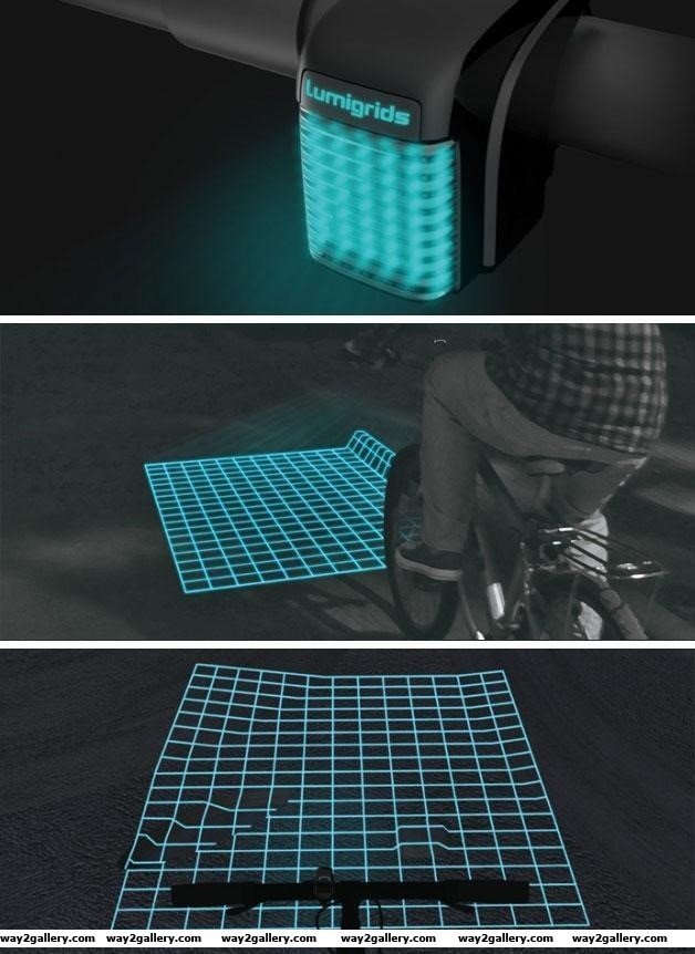 Awesome lumigrids invention to help cyclists in the dark