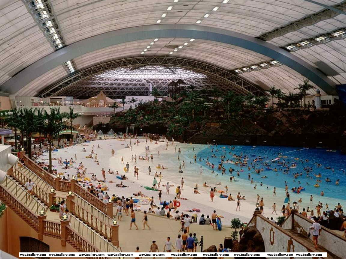Incredible photo taken inside the worlds biggest indoor man made beach in japan