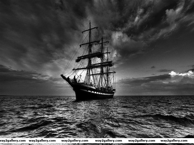 Old style pirate sailing in off the coast of norway